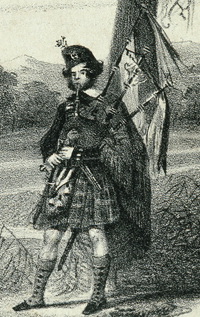 Highland bagpiper from Angus Mackay's Collection of Ancient Piobaireachd or Highland Pipe Music, published in 1838